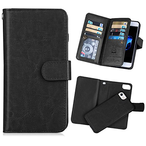 For iPhone 7(4.7), Urvoix (TM) Wallet Leather Flip Card Holder Case, 2in 1Detachable Magnetic Back Cover iPhone 7(Not for 7plus) Black