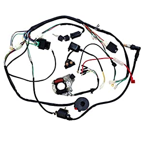 51PEV oaA8L._SY300_ amazon com jcmoto full wiring harness loom kit cdi coil magneto 110cc wiring harness at bayanpartner.co