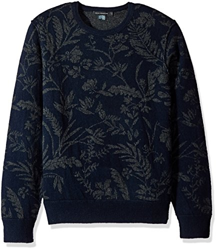 French Connection Men's Fumio Jacquard Lambswool, Marine Blue/Charcoal Melange, L