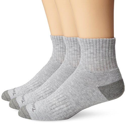 Quarter Socks Gray (Timberland Mens 3 Pair Quarter Socks, Grey, Sock Size:10-13/Shoe Size: 6-12(Shoe size 9-12))