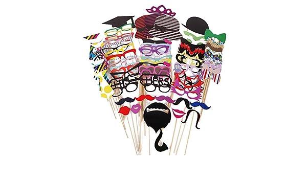 Aimeart decorativos para fotos para fiestas cumpleaños Navidad día Juego de accesorios de boda de corona los bigotes marco de casetas de 76 piezas (labios): ...