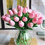 SHINE-CO Single Stem Real PU Touched Artificial Tulips High Quality 10 Pcs Arrangement Bouquet with Glorious Moral for Home Office Wedding Parties (Pink)