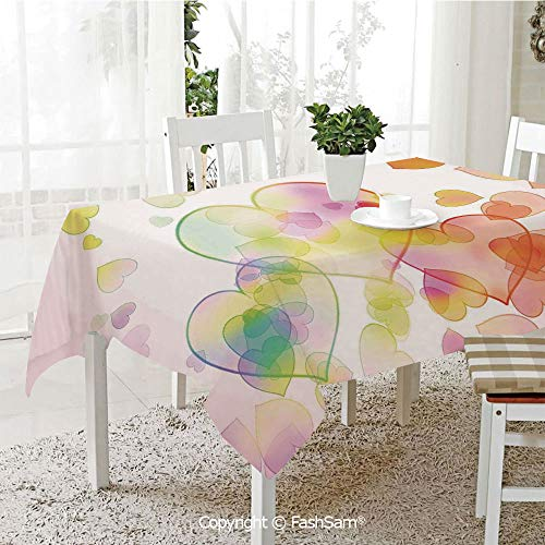 Tablecloths 3D Print Cover Abstract Artwork from Different Size Heart Shapes Festive Celebration Decorative Party Home Kitchen Restaurant Decorations(W60 xL84)