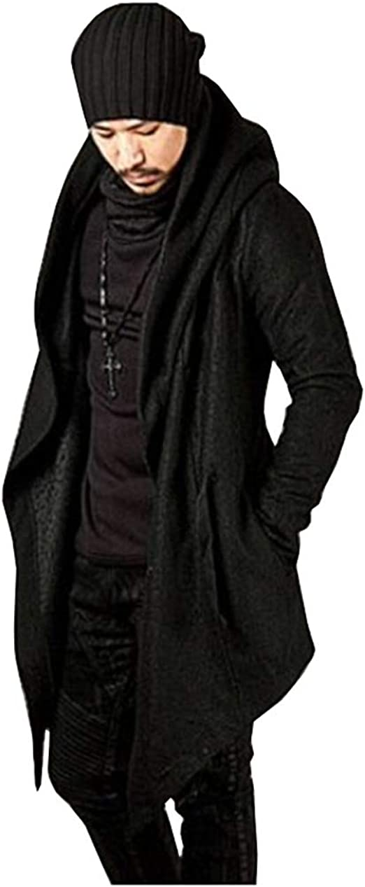 Mans Mid-Length Jacket,Open Front Long Sleeve Solid Color Knit Casual Cardigan Coat Jacket