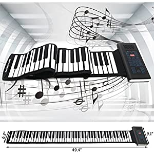 Costzon Roll Up Piano, 88 Keys Rechargeable Electronic Silicone Keyboard with Pedal by Costzon