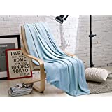 """SUPER COZY 100% Bamboo Fiber Throw Blanket / Children Blanket. Ultra softness and smothness like silk. Drop well with heavy weight. Much better than cotton. PERFECT GIFT. (Throw 44x 60"""", BALLAD BLUE)"""