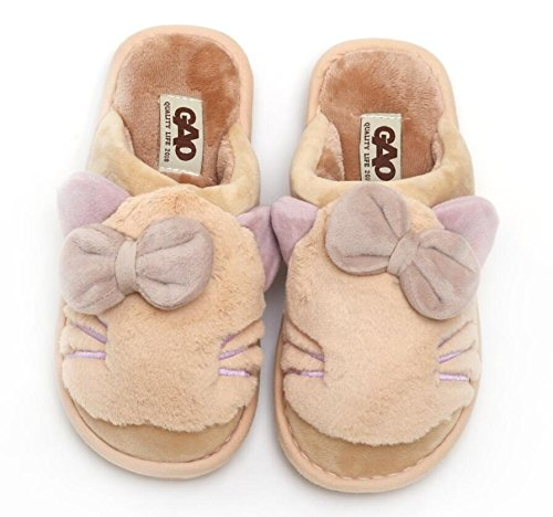 Fankou pantofole di cotone spessa femmina caldo inverno carino dolce ? anti-slittamento fondo morbido SCARPE Indoor ,40-41, kaki kaki