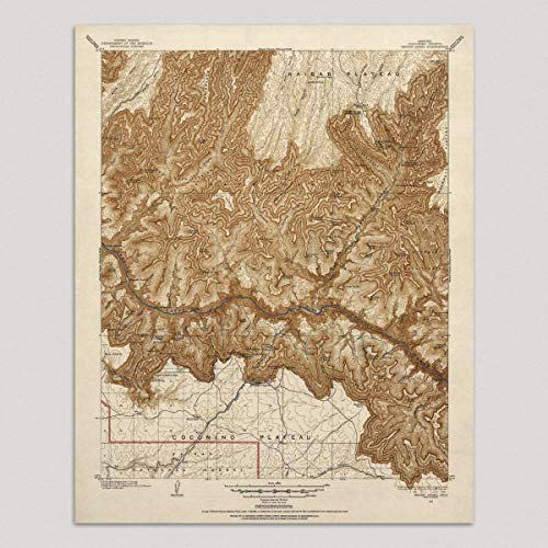 Old Grand Canyon National Park Map Art Print, 1903, Vintage USGS Topographic Map, Archival Reproduction, Unframed ()