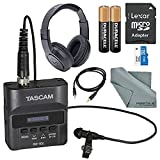 Tascam DR-10L Digital Audio Recorder with Lavalier Mic and Bundle with Headphones + 32 GB + Batteries + FiberTique Cleaning Cloth