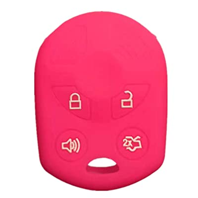 RUNZUIE Silicone Keyless Entry Remote Key Fob Cover Case Protector Fit for Ford Escape Explorer Mustang Transit Fusion Focus Lincoln Zephyr Mercury Grand Marquis Rose Red 4 Buttons: Automotive