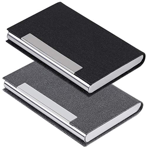 Leather Case Holder - Business Card Holder Business Card Case - JuneLsy 2 Pack Luxury PU Leather and Stainless Steel Card Holder for Men and Women with Magnetic Shut Keep Business Cards Clean (Black/Gray)