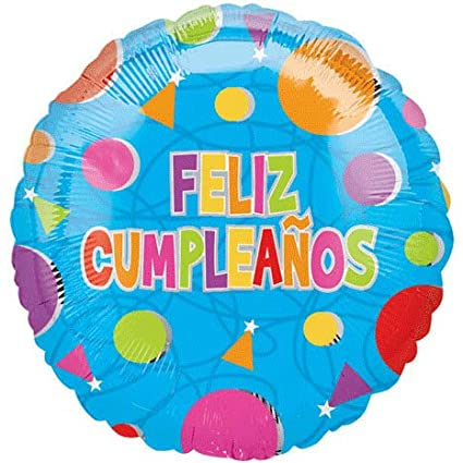 Amazon.com: 18 Inch Feliz Cumpleanos Confetti Value Balloons ...