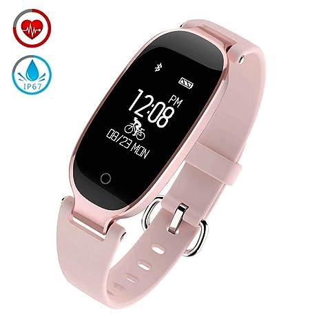 Pulsera Actividad Inteligente Deportiva con Monitor Pulsómetro Cardíaco, Smart Watch para Mujer Hombre Impermeable IP67, Reloj Fitness Podómetro ...