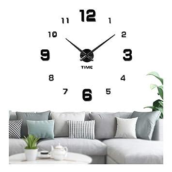Vangold Reloj silencioso 3D adhesivo efecto cristal para pared, sin marco, tamaño grande, para decorar la oficina o casa, negro-2 años de garantía: ...