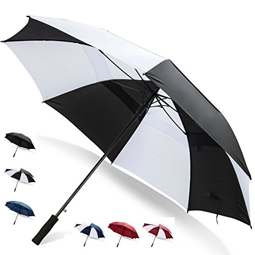 Third Floor Umbrellas 62 Inch Extra Large Windproof Golf Umbrella - Automatic Open Sturdy Strong Oversized Double Vented Canopy Big Sports Umbrellas for Men and Women