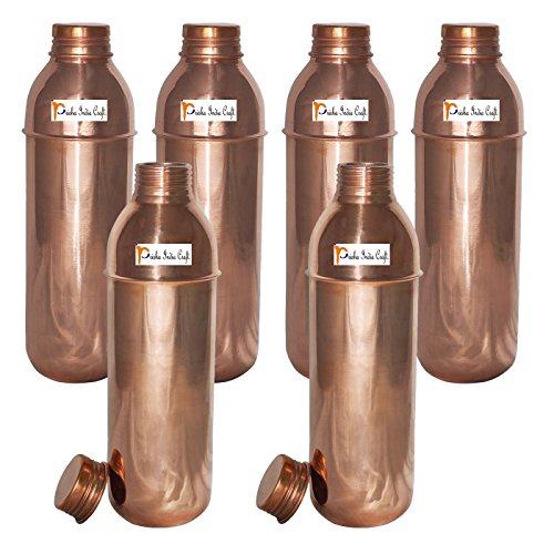 800ml / 27oz - Set of 6 - Prisha India Craft Copper New Bislery Bottle with benefited - Pitcher Bottles - Best Quality Water Bottles - Indian Water Carafe - Handmade Christmas Gift Item by Prisha India Craft