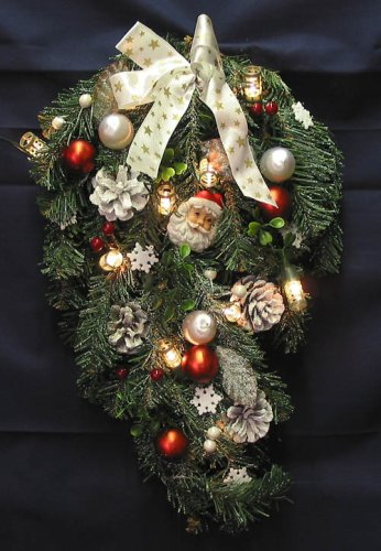 Christmas Pine Bough (Swag) with Pinecones, Ornaments, Santa Faces and Lights by KFK