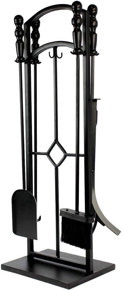 INNO STAGE Firewood Rack Bin Log Holder with Fireplace Tools Set Brush Shovel Poker Tongs for Indoor Outdoor or Backyard Garden Firepit No Screws are Required for Assembly ! Renewed