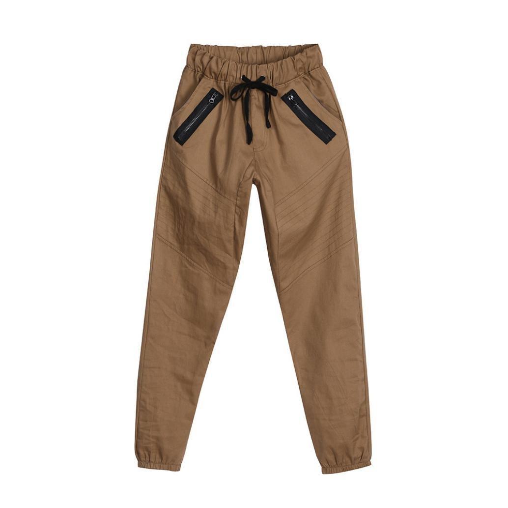 HTHJSCO Men's Basic Fleece Marled Jogger Pant, Men's Sport Jogging Fitness Pant Casual Loose Sweatpants (Khaki, XXL)