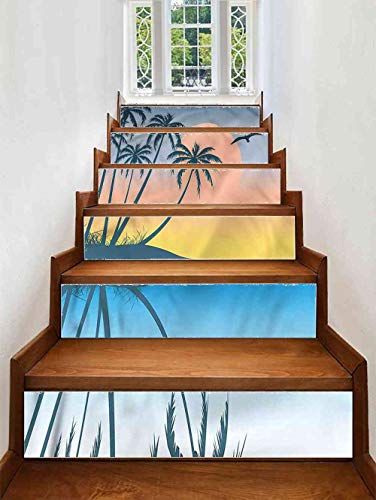 (VROSELV Stairs Stickers Bird,Tropical Island Exotic Stair Decals Tile, Size:W 39
