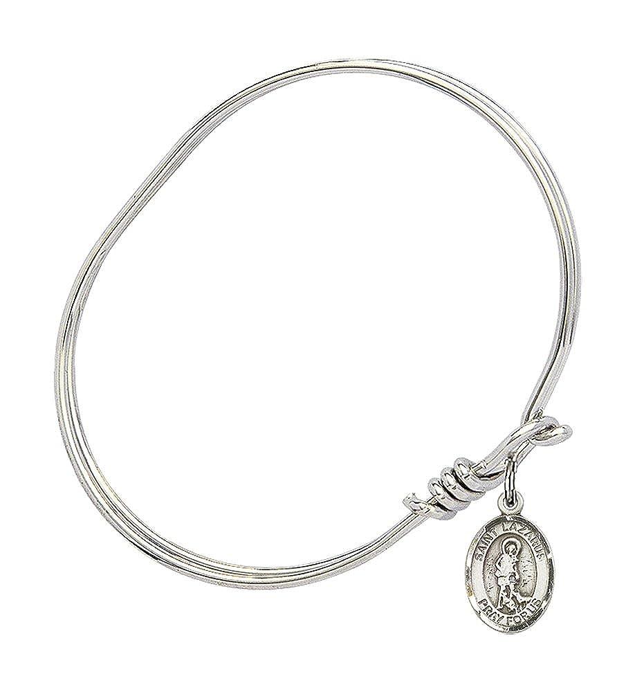 St Lazarus Charm On A Child Sized 5 3//4 Inch Oval Eye Hook Bangle Bracelet