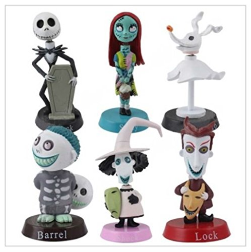 Nightmare Before Christmas Playset 6 Figure Cake Topper Toy Doll Set Birthday Party Baby Shower by Unbranded