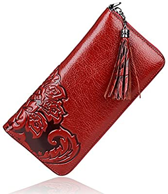 PIJUSHI Floral Wallet Genuine Leather Long Clutches Card Holder Purse