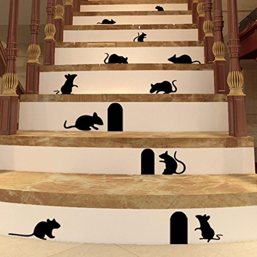 Hatop DIY Funny Art Graffiti Rat Hole Floor Stair Stickers Art Vinyl Home - And Names Pictures Indian Models