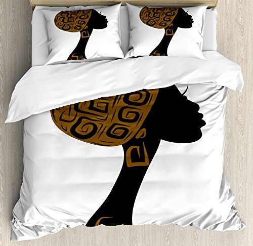 African Fabric Bed - Ambesonne African Duvet Cover Set Queen Size, Face Profile Silhouette Woman with Headscarf Art Folk Elements, Decorative 3 Piece Bedding Set with 2 Pillow Shams, Brown Black