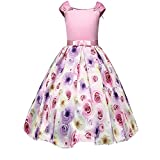 LYLIFE Girls Flower Printing Chiffon Princess Wedding Party Holiday Dresses