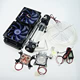 Glowry® Computer Water Cooling Kit 240 Radiator CPU GPU Block Cooler Pump 190 Reservoir Tubing Flowmeter Blue LED Fan