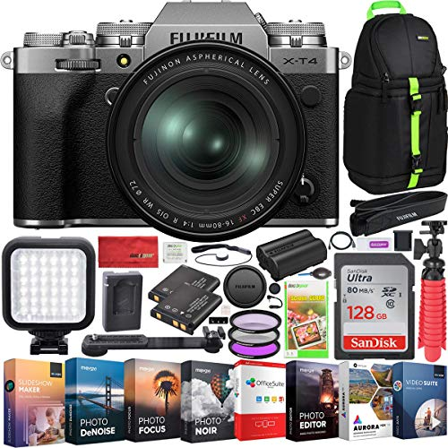 Fujifilm X-T4 Mirrorless Digital Camera 4K IBIS Body and Fujinon XF 16-80mm F4 R OIS WR Lens Kit (Silver) Bundle with Deco Gear Photography Backpack + Photo Video LED Light + 128GB Card + Software