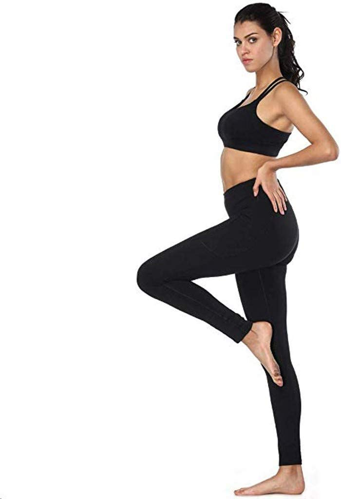 M, Black Womens Yoga Capri Pants Womens High Waist Yoga Pants Pockets Tummy Workout Running Sports Yoga Pants