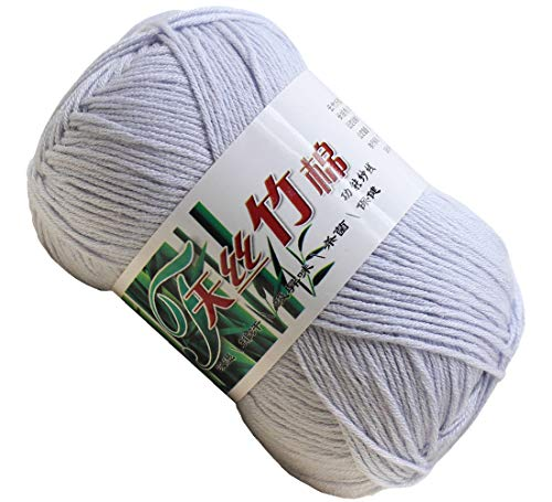 Set of 10 Skein Natural Select Soft Tencel Yarn 70% Bamboo + 30% Egyptian Cotton Crochet 50g Baby Knit Wool Yarn (White Gray 9006)