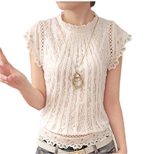 105b07869f8540 QIHUOKEJU Ladies White Lace Blouse Short Sleeve Stand Collar Women Tops  Elegant Patchwork Shirt