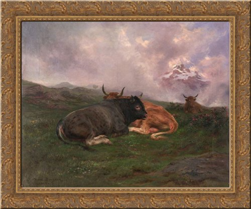 Cattle at Rest on a Hillside in the Alps 1885 24x20 Gold Ornate Wood Framed Canvas Art by Rosa Bonheur