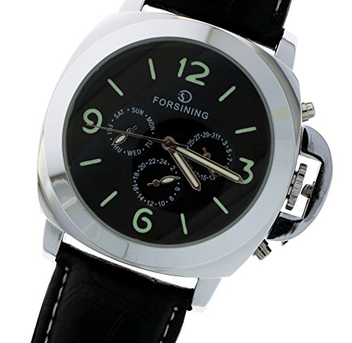New Brand Mall Mens Black Leather Aviator Black Band Luminous Dial Automatic Mechanical Watch