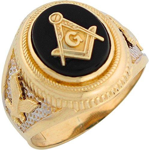 10k Two Tone Gold Onyx Freemason Masonic Patriotic Eagle Mens Ring (Gold Onyx Eagle Ladies Ring)
