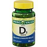 Spring Valley Vitamin D3, 1000 IU Bone & Immune Health, 100 Softgels