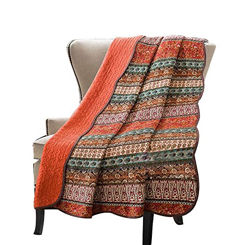 Stitching Reversible Blanket Floral Patchwork Quilted Throw Orange Jacquard