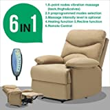 Massage Reclining Chair Microfiber Ergonomic Deluxe Design Armchair Lounge Heated w/Control Relax Light Brown Color