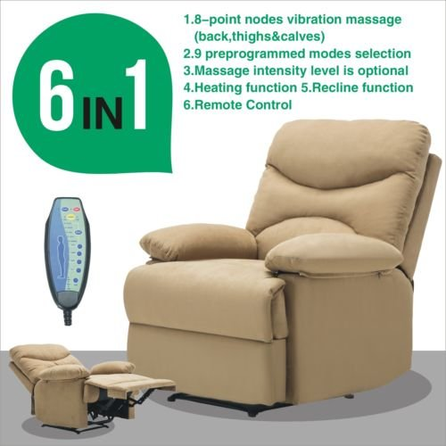 Massage Reclining Chair Microfiber Ergonomic Deluxe Design Armchair Lounge Heated w/Control Relax Light Brown - Village Dallas Station