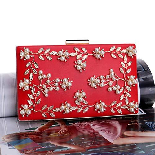Haut Messager Mode Swan De Fleur Perle Gamme Red La À Lady Luxe Sac Femme Bandoulière Avec Chaîne Ceinture Or Rrock Soirée Brillante Party w8U6Ipq