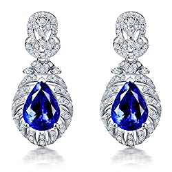 Diamond Tanzanite Drop Earrings for Women