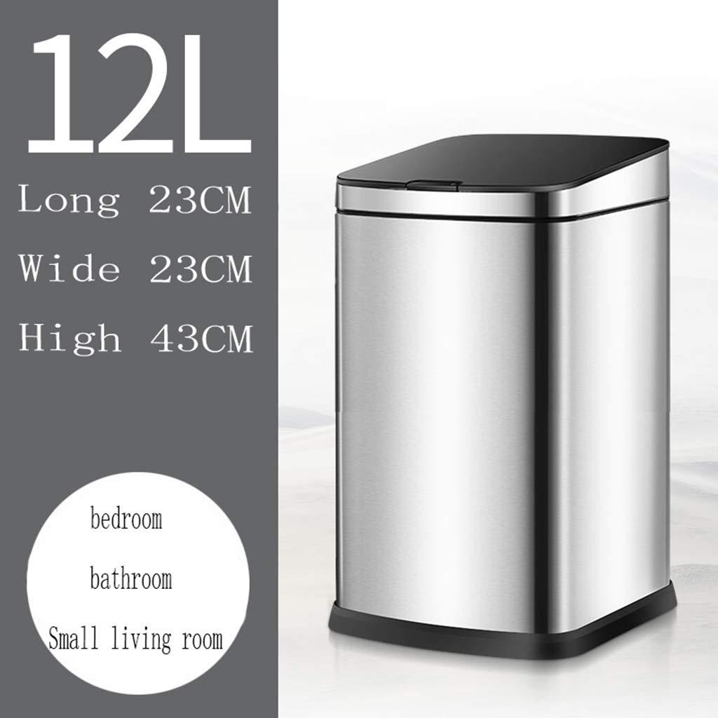 AHB Basura Inteligente Recargable Bote Bote Bote de Basura Rectangular Sensor Inteligente de Basura Creativo eléctrico Grande Sala de Estar Dormitorio baño Cocina Bote de Basura Creativo (Tamaño : 12L) c8b4bf