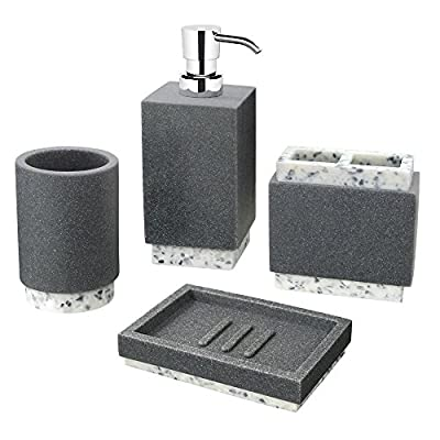 "Allure Home Creations Marcello Stone 4-Piece Bathroom Accessory Set- 1 Lotion Pump, 1 Toothbrush Holder, 1 Soap Dish and 1Tumbler - Set Includes:1 Lotion Pump,1 Toothbrush Holder,1 Soap Dish and 1 Tumbler Lotion Pump: The Marcello Stone Lotion Bottle made of resin mixed with sandstone gives you the the sleek look and feel of granite in contrasting shades of charcoal and white. The rectangular shapes is a perfect complement to your contemporary bathroom setting.Diam 2.75"" x H 7.56"".Holds up to 12.34 oz. of liquid soap or lotion.95% Resin, 5% Plastic. Toothbrush Holder: The Marcello Stone Toothbrush Holder made of resin mixed with sandstone gives you the the sleek look and feel of granite in contrasting shades of charcoal and white. The rectangular shapes is a perfect complement to your contemporary bathroom setting.L 4.06"" x W 2.31"" x H 3.94"".100% Resin. - bathroom-accessory-sets, bathroom-accessories, bathroom - 51PEZOvgSwL. SS400  -"