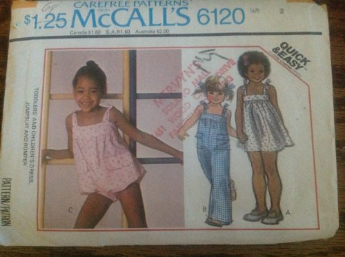 Mccalls 6120 Sewing Pattern for Toddlers Size 2 Dress Jumpsuit Bubble Romper with Tie Straps & Yoke with Elastic in Top Back Edge ()