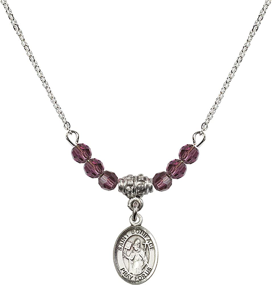 18-Inch Rhodium Plated Necklace with 4mm Amethyst Birthstone Beads and Sterling Silver Saint Boniface Charm.