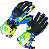insulated kids gloves - COPOZZ Waterproof Ski Snowboard Gloves for Men Women & Kids Thinsulate Winter Insulated Motorcycle Snowmobile Warm Gloves w/ Zippered Pocket