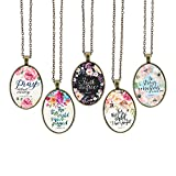 Bling Bling Glass Cabochon Necklace Vintage Bible Verses Pattern of Oval Pendant Inspired Necklace 23.6 inches Handmade for Gifts 5pcs